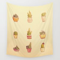 cacti Wall Tapestries featuring Cacti by Samantha Crepeau