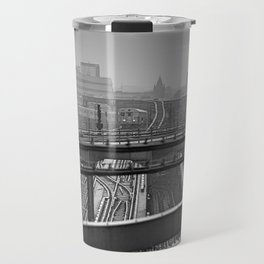 Tales of a Subway Train in Black and White Travel Mug