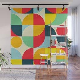 Mid Century Bauhaus Geometric Pattern Wall Mural