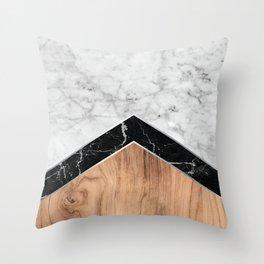 Stone Arrow Pattern - White & Black Marble & Wood #585 Throw Pillow