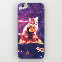 Space Cat Eating Pizza - Rainbow Laser Eyes, Burrito iPhone Skin