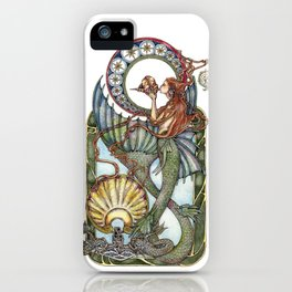 Maid of the Deep - With Silver Dolphins iPhone Case