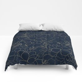 Stylish navy blue gold hand drawn floral Comforters