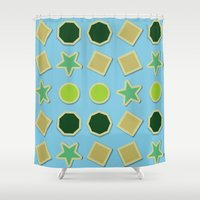 stickers Shower Curtains featuring Shapes stickers by laly_sb