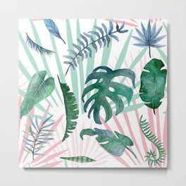 Tropical Leave Pattern Metal Print