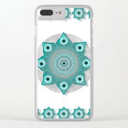 """""""Teal Flower Power ^_^"""" Clear iPhone Case"""