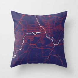 Sherbrooke, QC, Canada, Blue, White, City, Map Throw Pillow