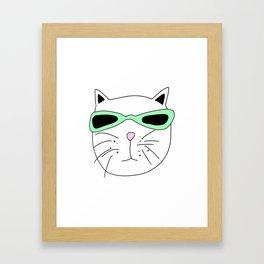 Cat Mint Sunglasses Framed Art Print