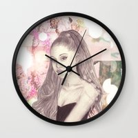 ariana grande Wall Clocks featuring Ariana by Share_Shop