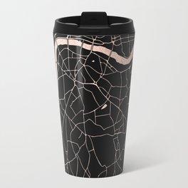 London Black on Rosegold Street Map Travel Mug