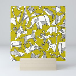origami animal ditsy chartreuse Mini Art Print