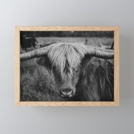 Highland Cow Black and White Framed Mini Art Print