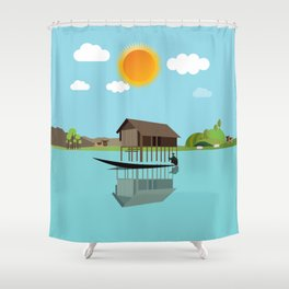 House above the water Shower Curtain