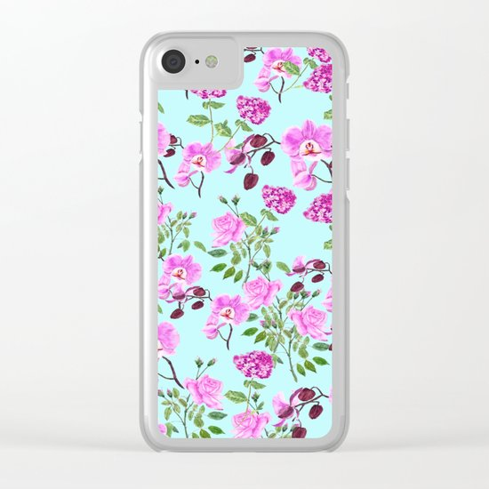 pink purple flowers watercolor painting Clear iPhone Case
