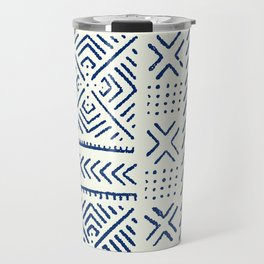 Line Mud Cloth // Ivory & Navy Travel Mug