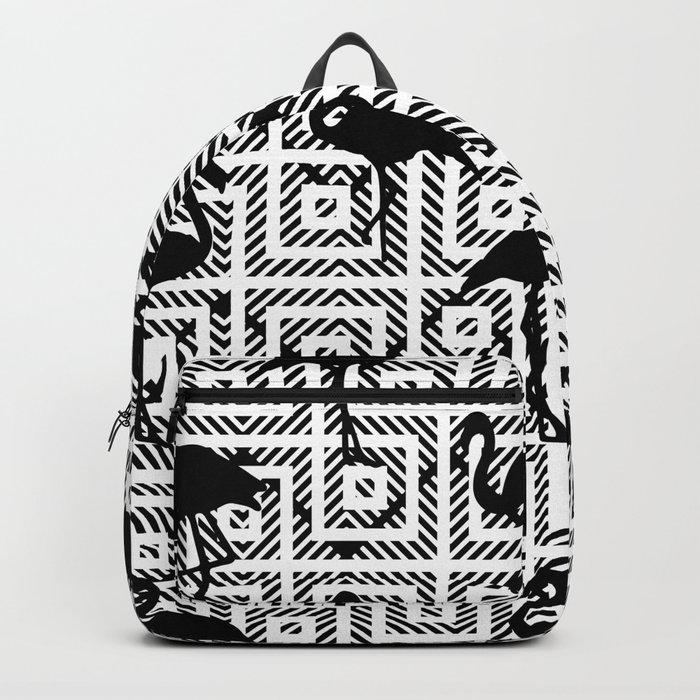 B&W Geometric Flamingos #society6 #decor #buyart Backpack
