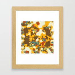 psychedelic geometric painting texture abstract in yellow brown red blue Framed Art Print