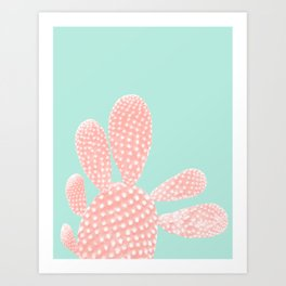 Apricot Blush Cactus on Mint Summer Dream #1 #plant #decor #art #society6 Art Print