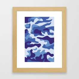 Blue camouflage pattern Framed Art Print