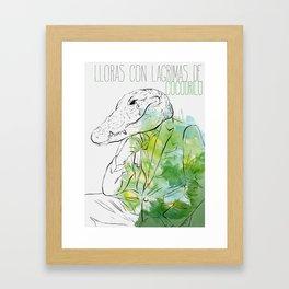 Lloras con lágrimas de cocodrilo (you cry with cocodrile tears) Framed Art Print