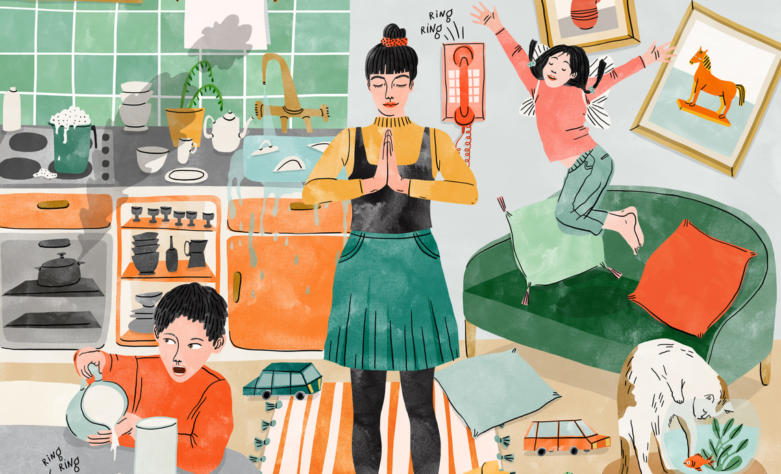 illustration of a mom meditating in the middle of a living room full of playing children, ringing phones, burning pots and more