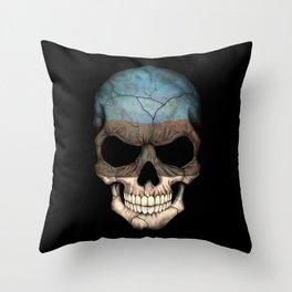 Dark Skull with Flag of Estonia Throw Pillow