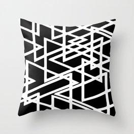 Interlocking White Triangles Artistic Design Throw Pillow