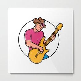 Cowboy Rocker Guitarist Mono Line Art Metal Print