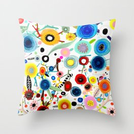 Rupydetequila whimsical floral art 2018 Throw Pillow