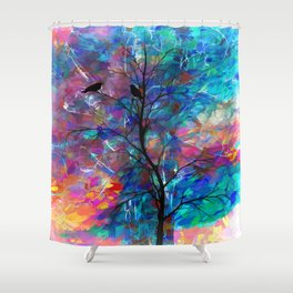 Love Birds Abstract Painting Shower Curtain