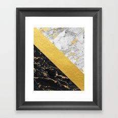 Marble Mix // Gold Flecked Black & White Marble Framed Art Print
