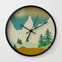 Mountain landscape in green Wall Clock