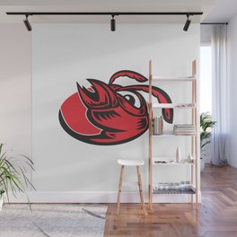 angry hornet wasp red ant head mascot Wall Mural