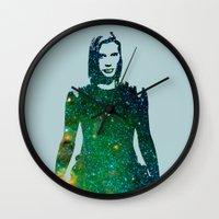 battlestar galactica Wall Clocks featuring Starbuck Battlestar Galactica by pithyPENNY