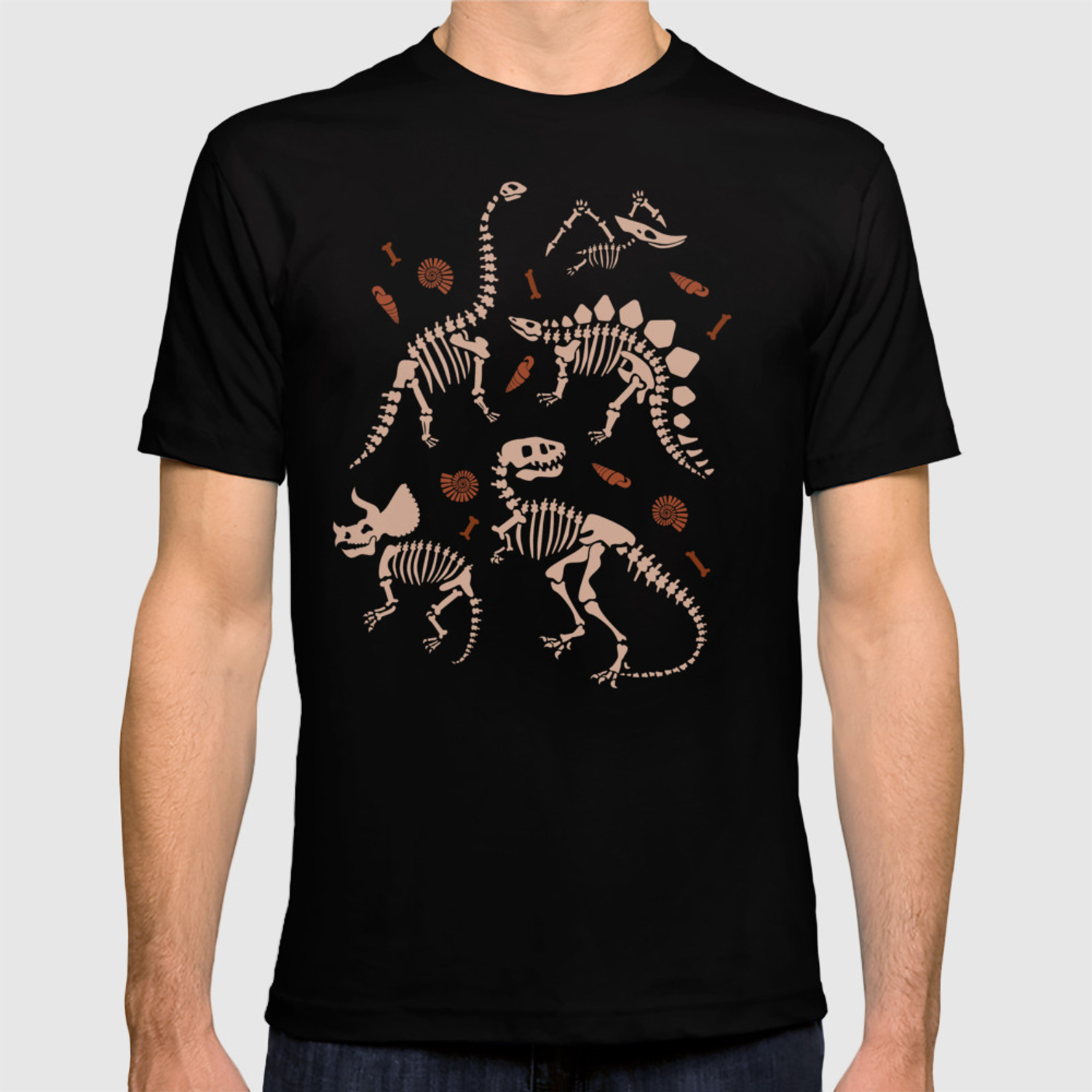 7b63f7faa Dinosaur Fossil Pattern in Warm Hues T-shirt by latheandquill | Society6