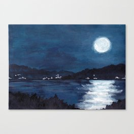 The Bay//Moon Reflections on water Canvas Print