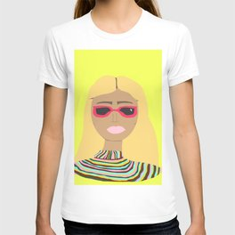 Lime Green Woman with Rainbow Sweater and Pink Sunglasses T-shirt