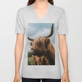 Scottish Highland Cattle - Animal Photography Unisex V-Neck