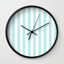 Striped- Turquoise vertikal stripes on white - Maritime Summer Beach Wall Clock