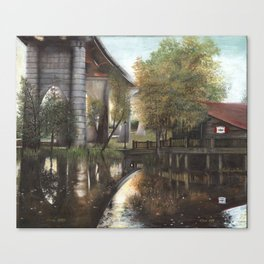 Conway Bridge and Warehouse Riverscape Canvas Print