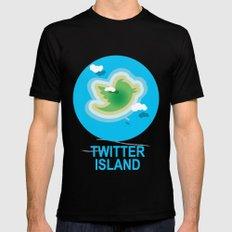 Twitter Island MEDIUM Black Mens Fitted Tee