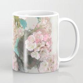 Shabby Chic Hydrangea Flowers Pink White Aqua Blue Coffee Mug