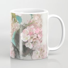 Shabby Chic Hydrangea Flowers Pink White Aqua Blue Coffee Mug