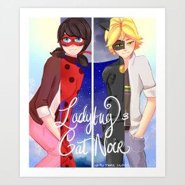 Miraculous Ladybug and Cat Noir Art Print