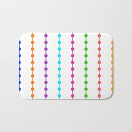 Geometric Droplets Pattern - Rainbow Colors on White Bath Mat