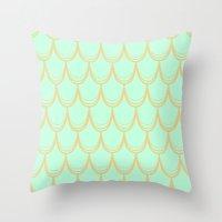 mermaid Throw Pillows featuring Mermaid  by Aneela Rashid