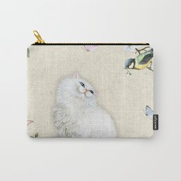 Kitty Welcome Bird #cat #bird #sparrow #society6 Carry-All Pouch