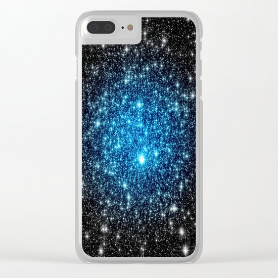 GaLaXY Sparkle Stars :  Blue Pop of Color Clear iPhone Case