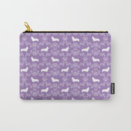Corgi silhouette florals dog pattern purple and white minimal corgis welsh corgi pattern Carry-All Pouch