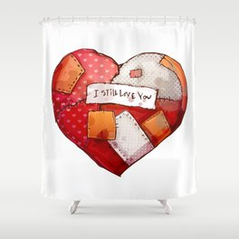 Heart with patches. Valentines day illustration. Shower Curtain
